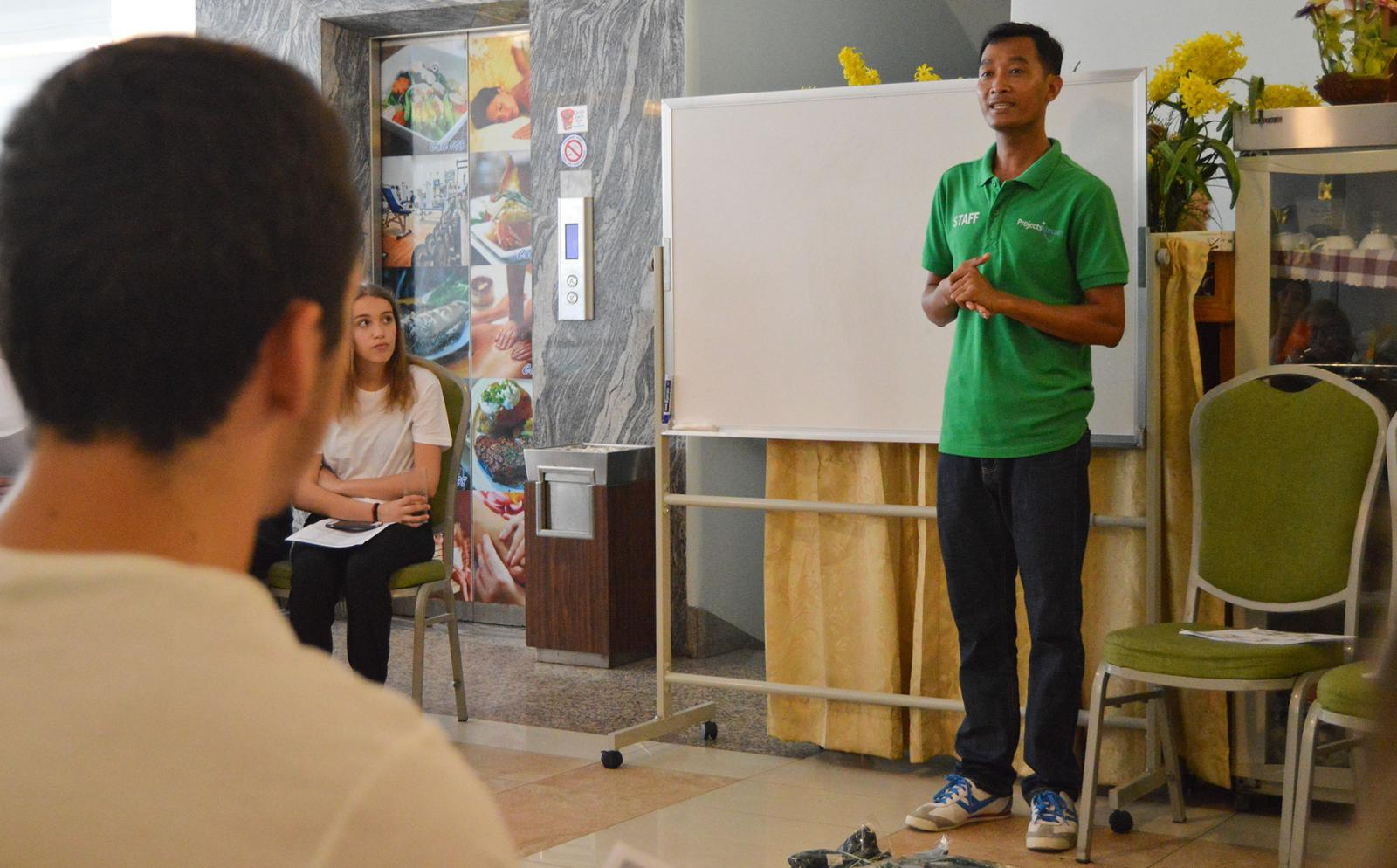 Projects Abroad Volunteers being introduced to local culture and language after their arrival in Cambodia